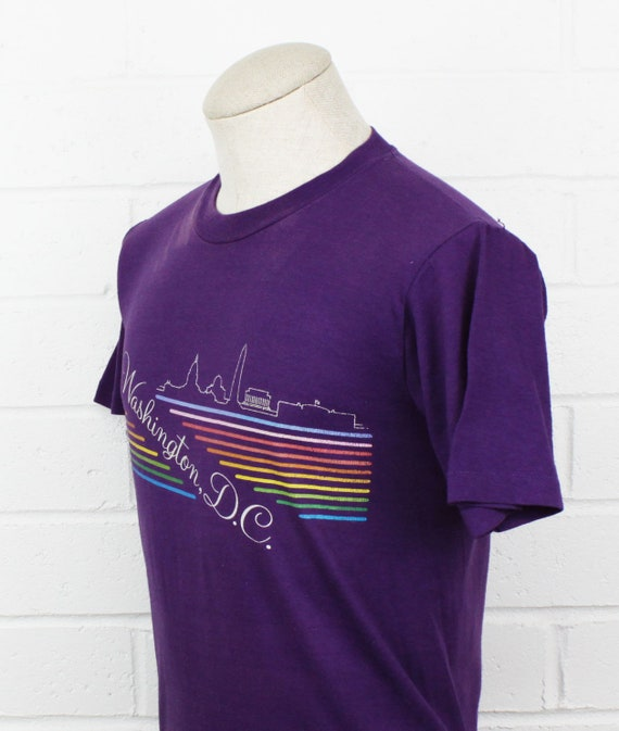 Vintage 80s Washington DC Medium Shirt Rainbow Pu… - image 4