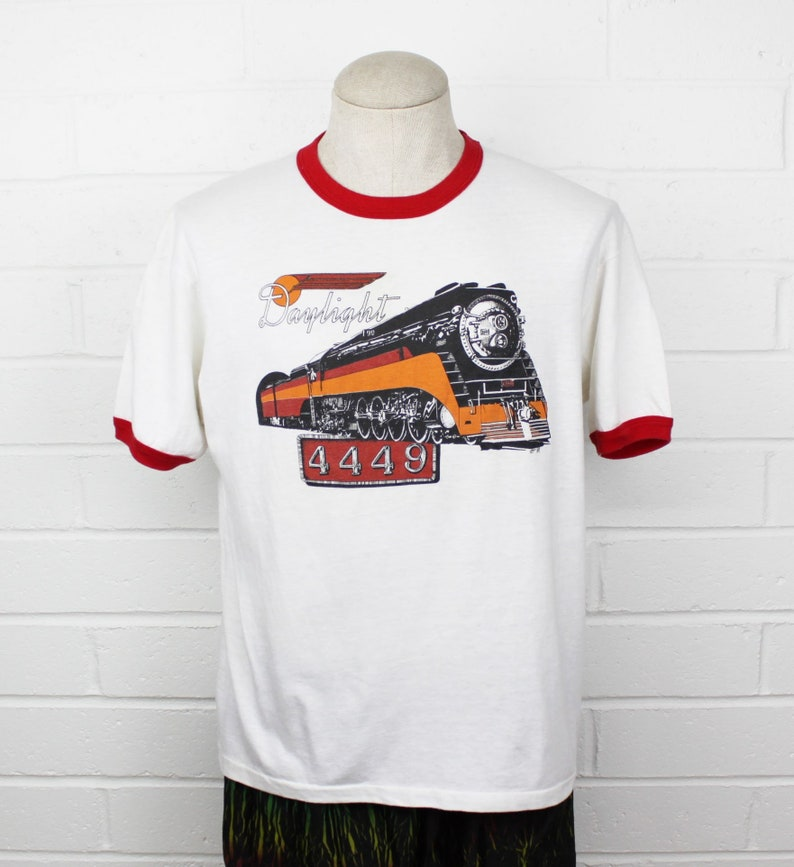 11342bbba Vintage 80s Train Lover Ringer Shirt XL Daylight Southern