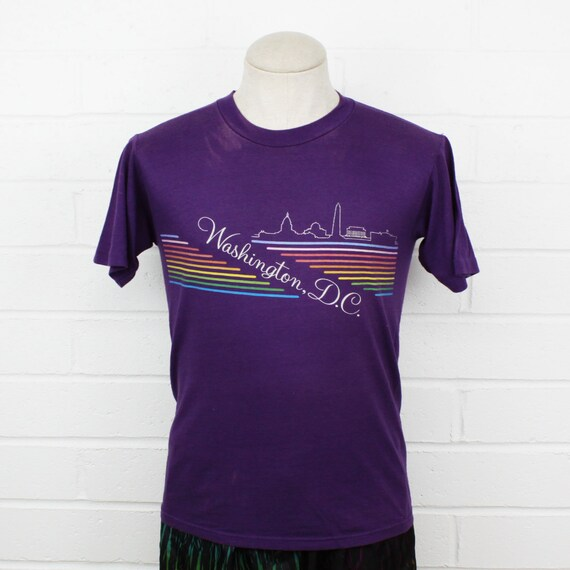 Vintage 80s Washington DC Medium Shirt Rainbow Pu… - image 1