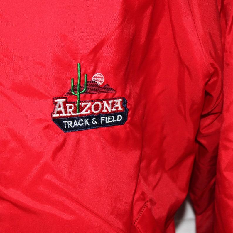 Vintage 80s University of Arizona Bomber Jacket Red Large Track and Field Athletics Windbreaker Lightweight