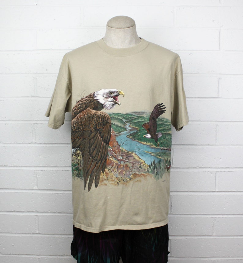 67a09012 Vintage 90s Bald Eagle Shirt Baggy Medium Tan Double Sided All Over Retro  Widerness nature Bird Graphic Tee T-Shirt