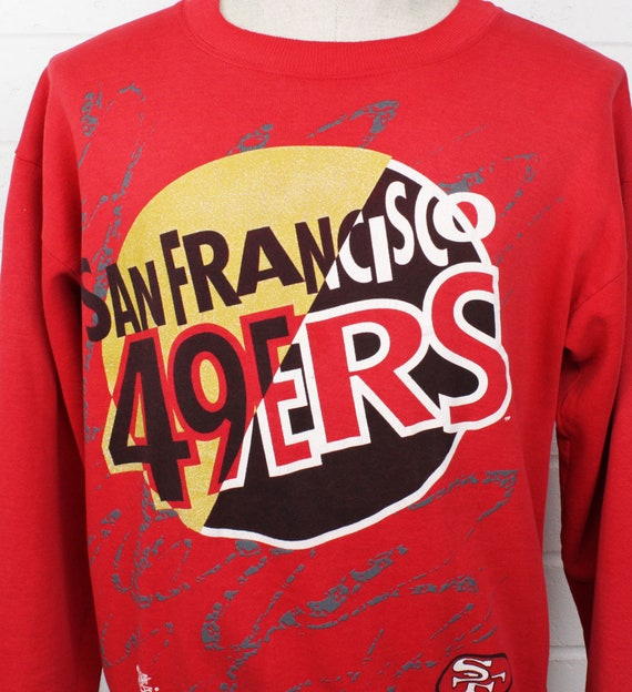 online retailer b3f1e 44fe2 Vintage 90s San Francisco 49ers Sweatshirt Large NFL Football Team Game Day  Scribbles Red Pullover Rretro Sweater