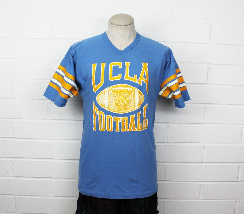 buy online 9d021 ef996 Vintage 70s UCLA Football Jersey Shirt University of California Los Angeles  Bruins Large 3/4 Sleeve TShirt