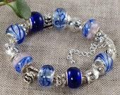 Ultramarine Blue Euro Charm Bracelet Saphire Electric Blue Dusty Pink Murano Glass Fish Charm Bracelet Girls Women Jewelry Gift for Her 4293