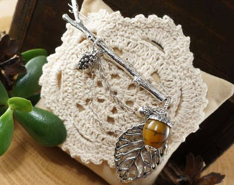 """Brooch Branch with Acorn, olive agate """"silver"""" (#7182)"""