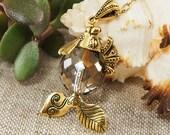 Golden Metallic Clear Crystal Czech Glass Gold Fish Pendant Necklace Marine Maritime Summer Boho Charm Jewelry Girls Women Gift for Her 6540