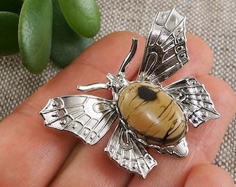 African Sand Jasper Dragonfly Beige Brown Camel Safari Boho Pendant Necklace Dragonflies Handmade Designers Unisex Jewelry Gift for Her 7114