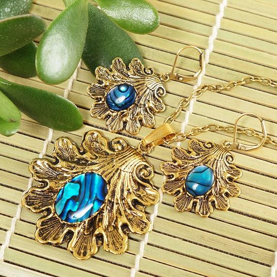Abalone Jewelry Set Boho Jewelry Set Sterling Silver Jewelry Set Green Jewelry Set Dragonfly Jewelry Set Insect Jewelry Set