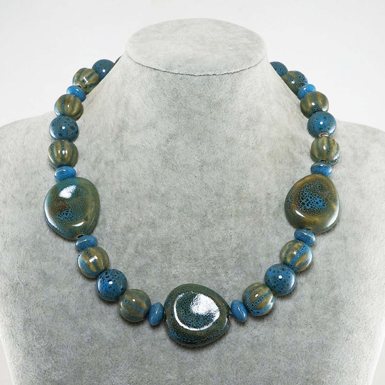 Glazed Ceramic Teal Turquoise Sea Blue Olive Green Necklace Large Chunky Nugget Beaded Statement Necklace Womans Jewelry Gift for Her 7329