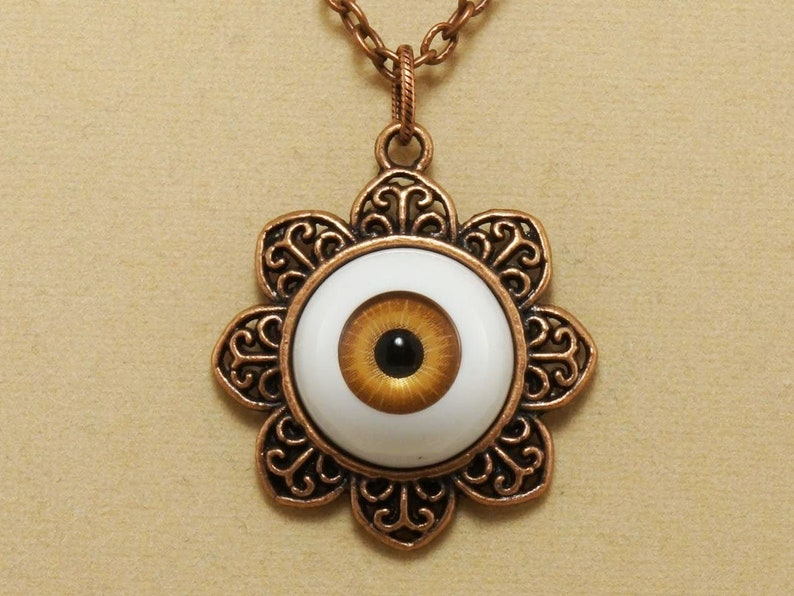 Evil Eye Necklace Amber Brown Human Eye Witch Amulet Round Burnt Orange White Copper Flower Charm Pendant Necklace Women Girl Jewelry 5028