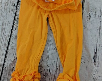 e80cfba73b0 Mustard Ruffled Leggings -Little Girl Leggings Ruffle Leggings - Toddler  Leggings Girl Leggings - mustard ruffle Leggings