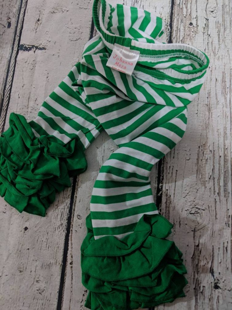 5ad9e10db9bb7 Green Ruffled Leggings Little Girl Leggings Ruffle Leggings | Etsy