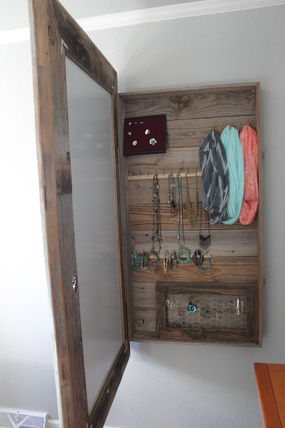 Items similar to Reclaimed Wood Mirror and Jewelry Box ...
