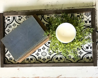 Wooden Serving Tray. Stenciled Tray.