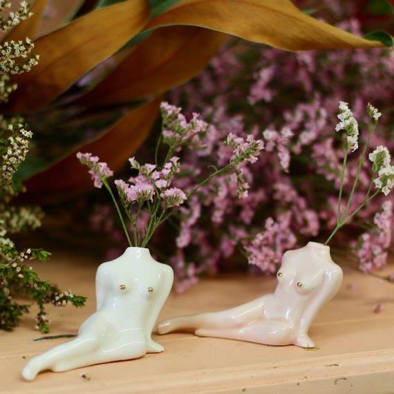 Small Porcelain Vase For One Flower Noemiah X Goye Etsy