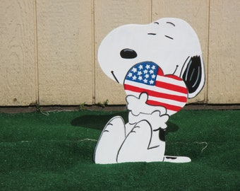Peanuts Snoopy Patriotic Yard Sign