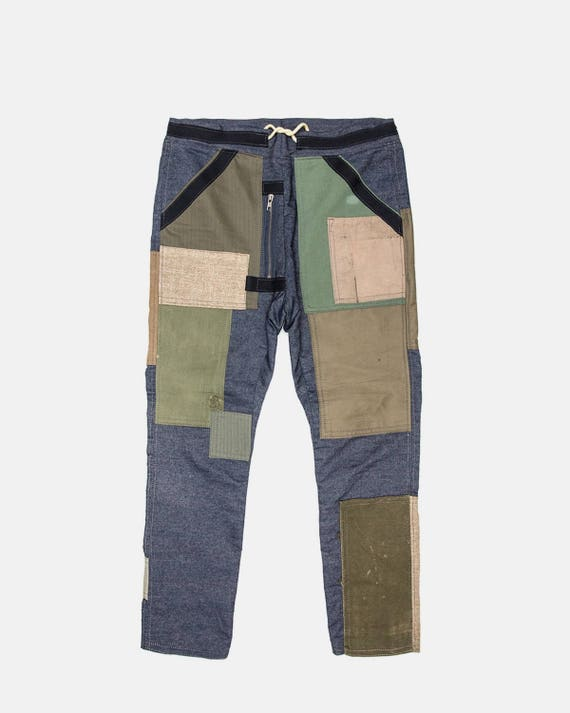 Army green & raw denim pant