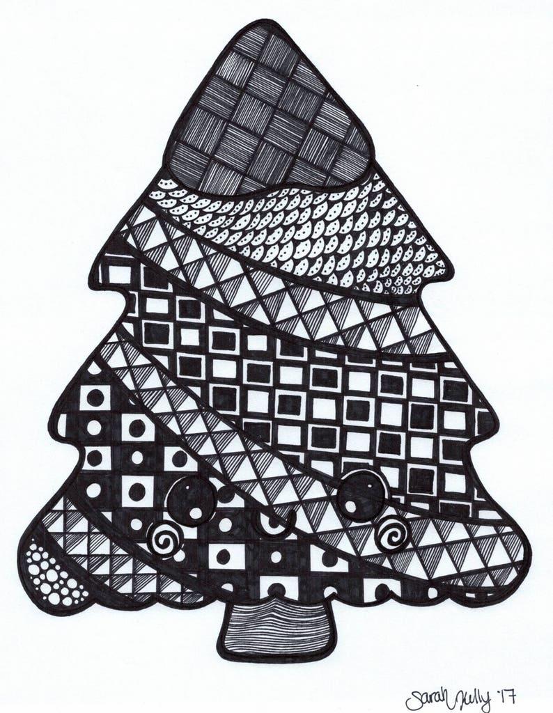 Christmas Tree Drawing Etsy