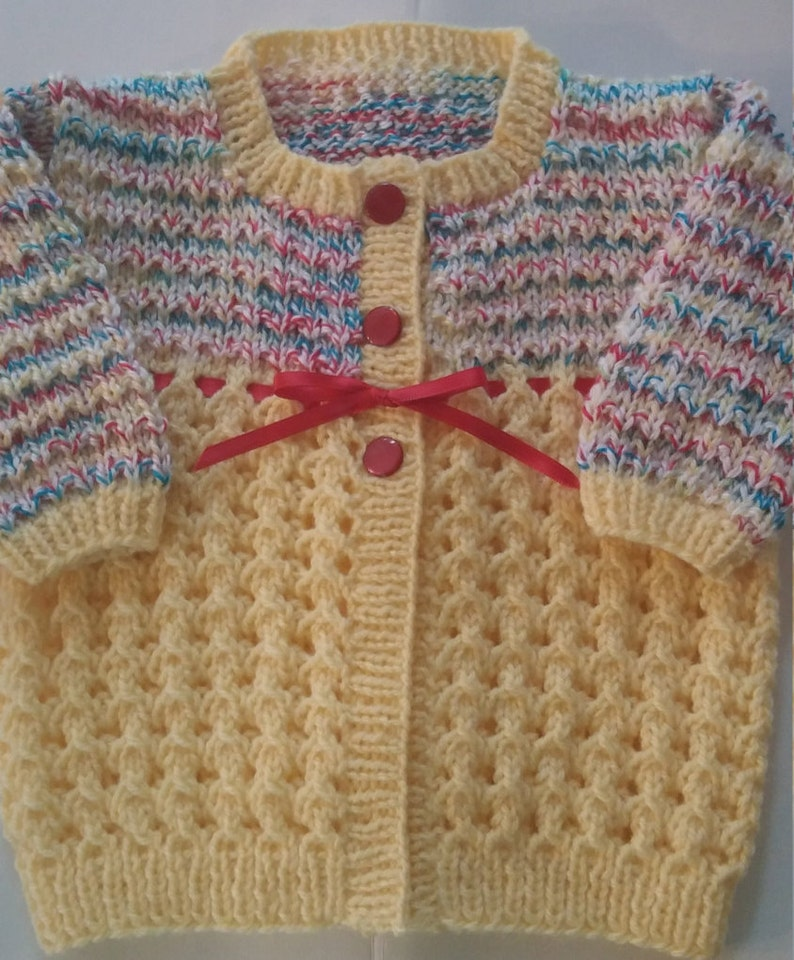 524dd096518a Baby Girl Sweater Hand knit Multi-colored bodice yellow