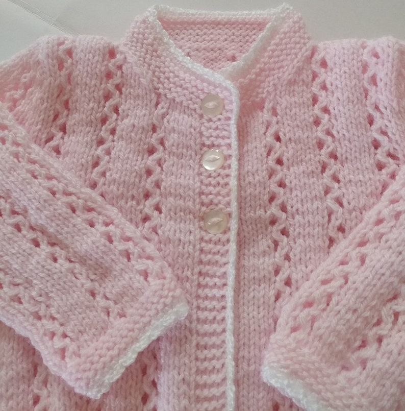 cd34b9593205 Baby Girl Sweater Hand knitted Pale Pink fancy patterned