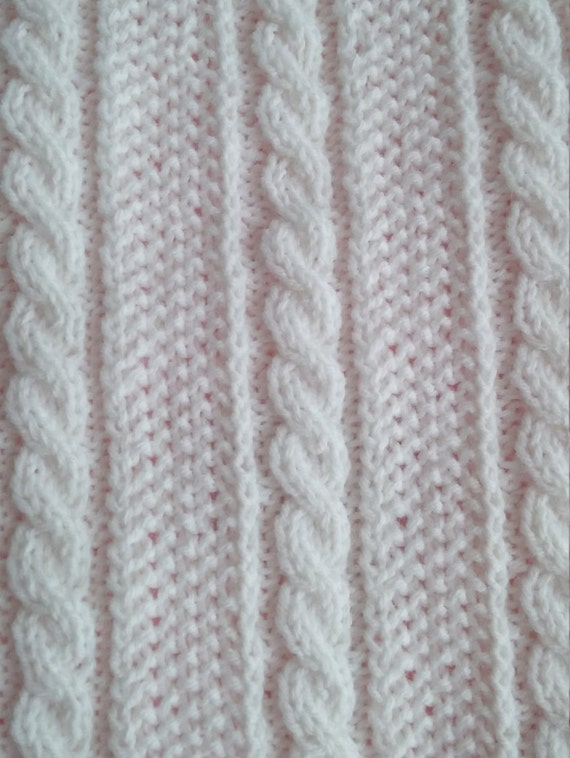 e29500fc23bf Beautiful White Baby Blanket. Hand Knit Fancy design with