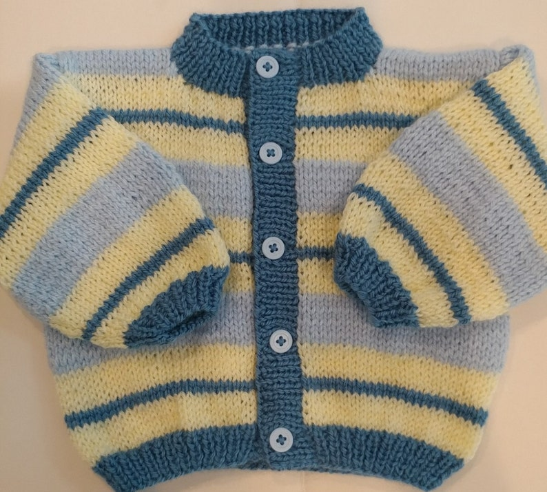 22d91214807d Baby Boy Cardigan 6 mo.size Stylish STRIPES in Blue Yellow