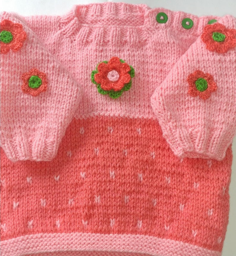 c94f85e2f2d0 Baby Girl Pullover SweaterHand knitted Peach Coral 3 Green