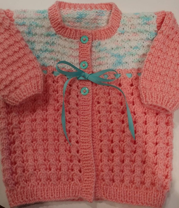 a2bfcb7ae6fe Baby Girl Sweater Hand knit Coral color body w Multi-colored
