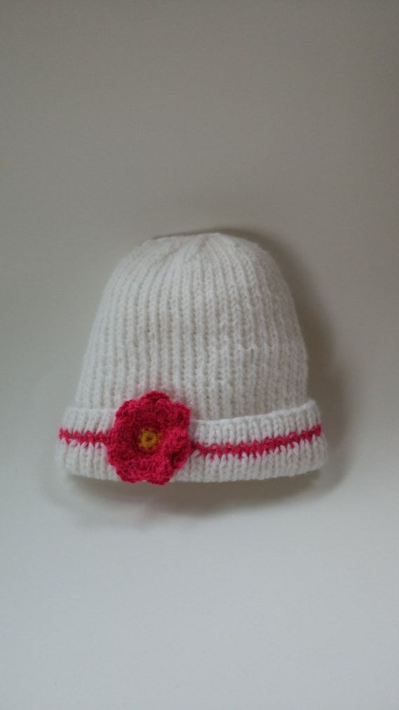 easy care White beanie Hand knit Infant Approx crocheted mutli-colored flowers Baby Girl Hat pink trim 6-12 month By Helen Rosenhaft