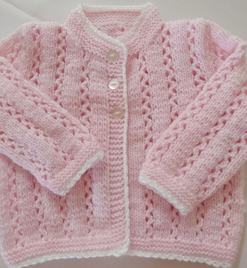 7548f6783 Baby Girl Sweater Hand knitted Pale Pink fancy patterned