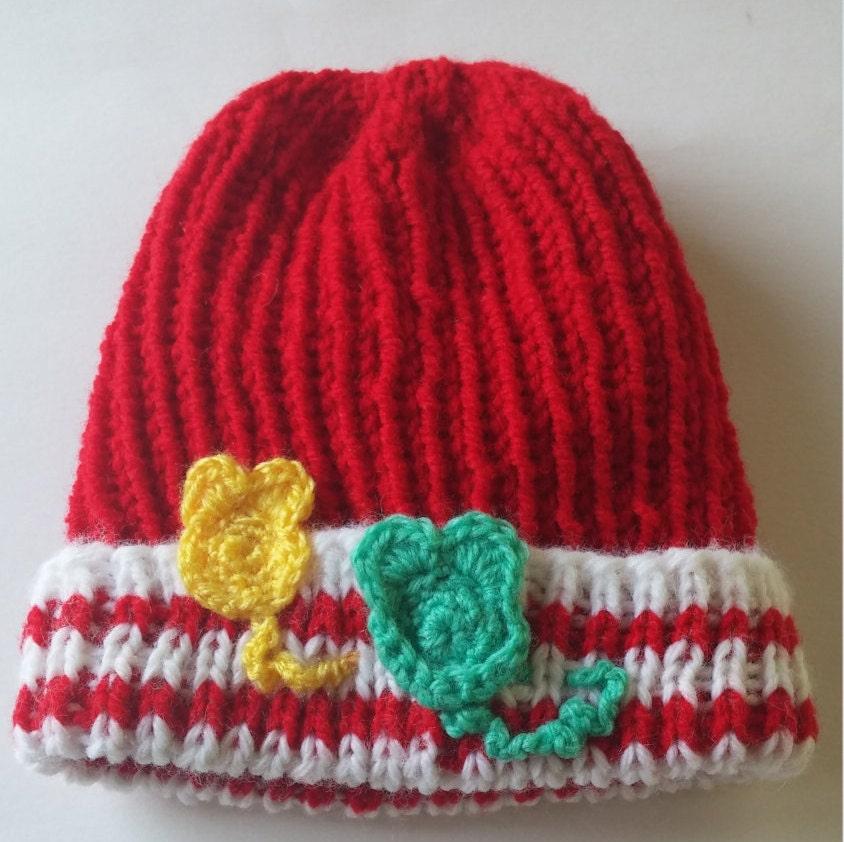 b0738330632 Baby Boy Hat Red with White trim. Hand knit Beanie hatw  2