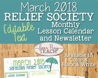 March 2018 Editable Newsletter and Lesson Schedule Calendar - LDS Relief Society - Color and Black and White
