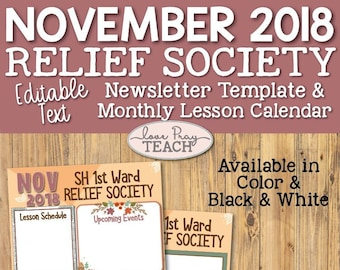 november 2018 editable newsletter template and relief society lesson schedule calendar