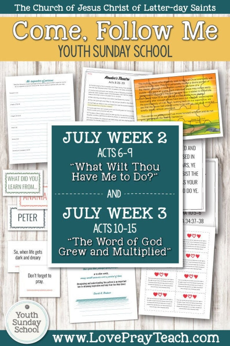 Youth Sunday School Come,Follow Me New Testament 2019 July8–14 Acts 6–9 &  July15-21 Acts 10-15 Printable Lesson Packet for Latter-day Saints