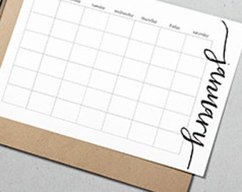 Undated Monthly Calendar (Printable) 8.5 x 5.5