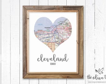 Heart map cleveland etsy heart map print printable map wall art decor instant download cleveland ohio gumiabroncs Images