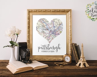Heart Map print, printable map wall art decor, INSTANT DOWNLOAD - Pittsburgh, Pennsylvania