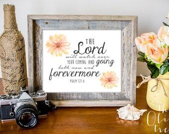 Bible Verse print, printable Scripture wall art decor, INSTANT DOWNLOAD - Psalm 121:8