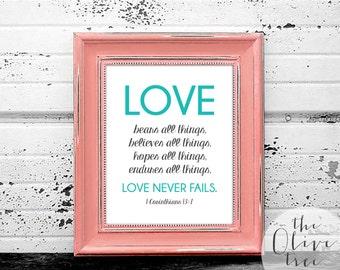 Bible Verse Art print, printable Scripture wall art decor, INSTANT DOWNLOAD