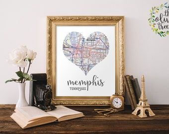Heart Map print, printable map wall art decor, INSTANT DOWNLOAD - Memphis, Tennessee