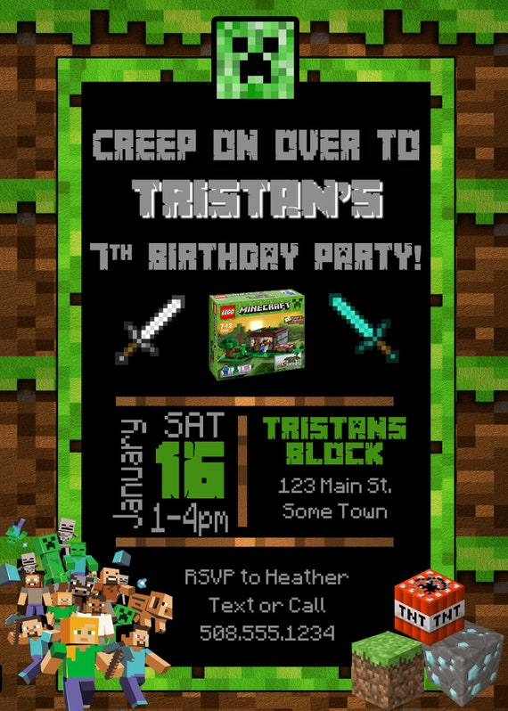 awesome minecraft birthday invitation or 82 minecraft birthday invitation card