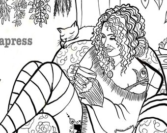 Cozy Witch Coloring Page