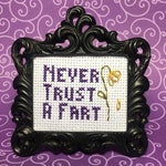 Never Trust A Fart MINI Finished Cross Stitch in choice of frame