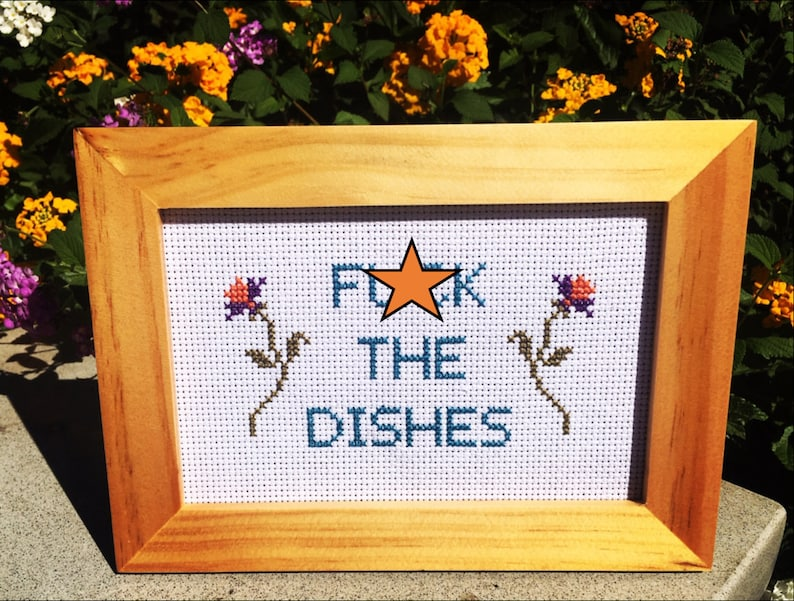 Fck The Dishes 4 x 6 Finished Cross Stitch in Natural Wood image 0