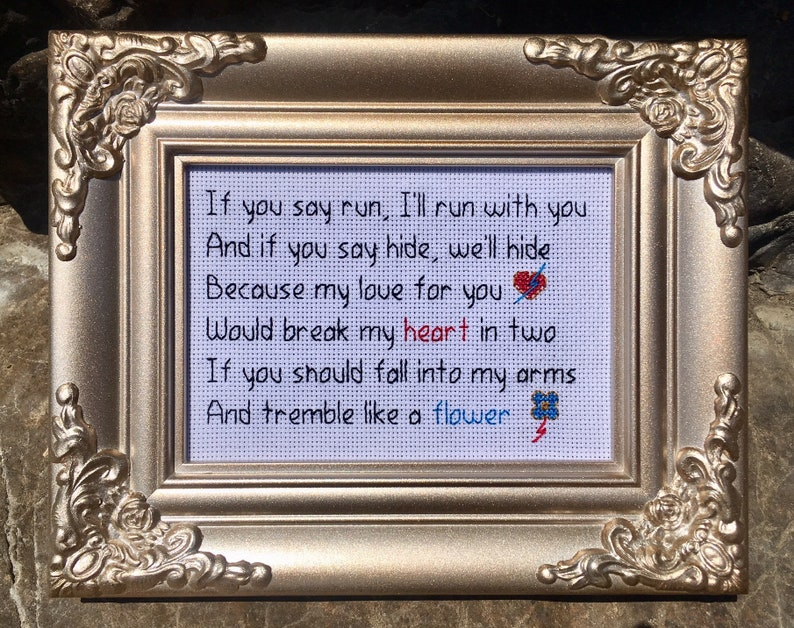 David Bowie Let's Dance Lyrics 5 x 7 Needlepoint in Gold image 0