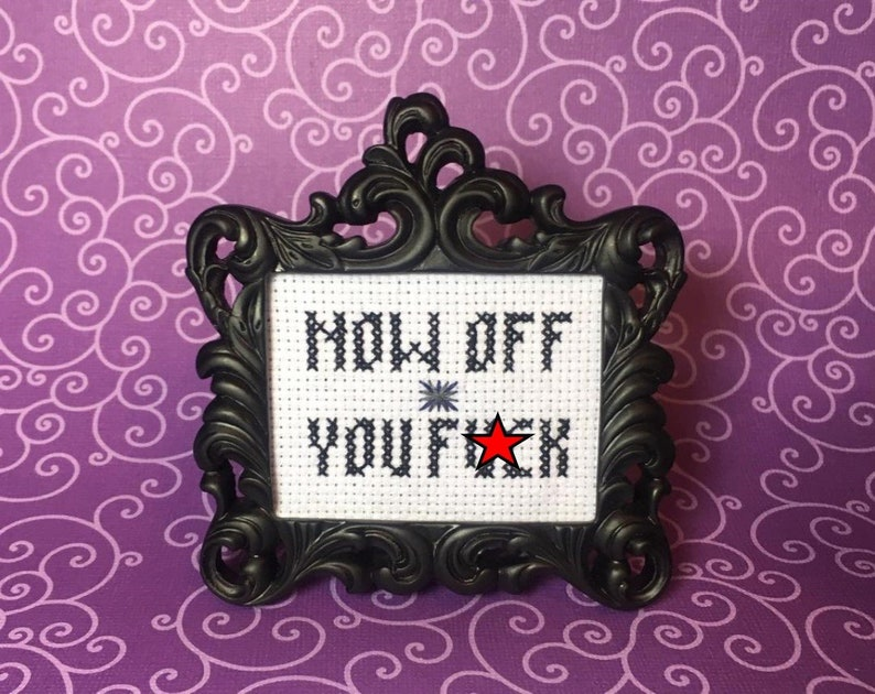 Now Off You F&k MINI Finished Frame Cross Stitch image 0