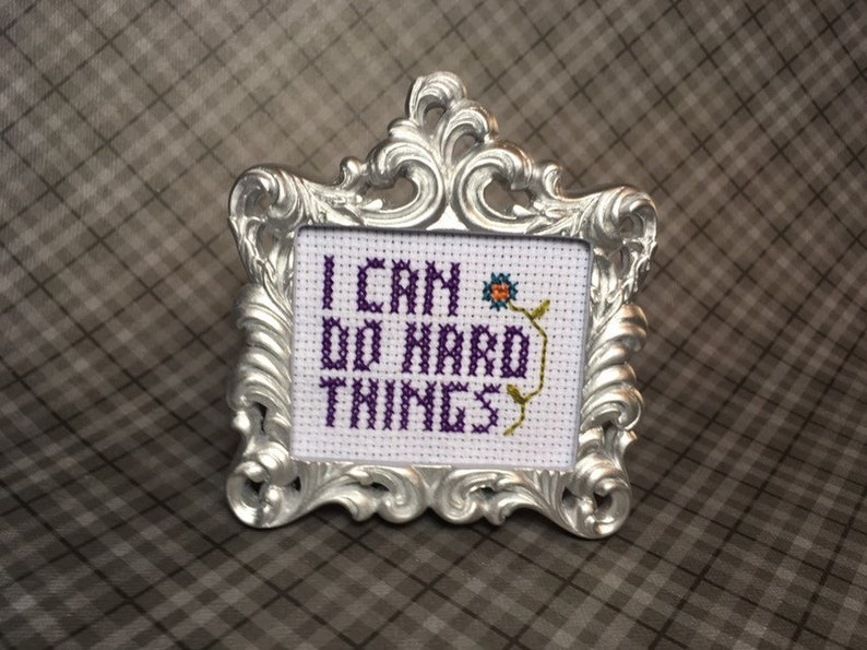 I can do hard things MINI finished cross stitch in black or image 0