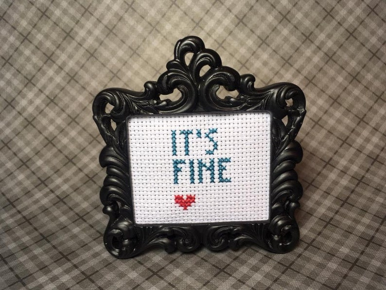 It's Fine MINI finished cross stitch in black or silver image 0