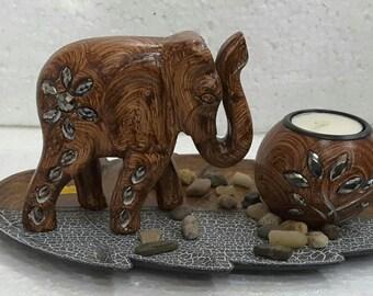 Wooden Elephant and Teat Light Votive Set with Leaf Plate - WEVT008