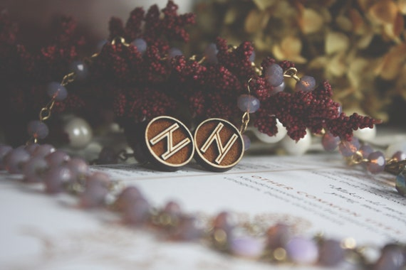 Viking Rune Earrings Hagalaz Earring Studs Elder Futhark Runic Earrings Lasercut Wood Earrings